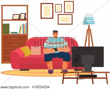 Guy Playing Video Games Sitting On Couch With Gamepad. Man Relaxing At Home Alone. Living Room Inter