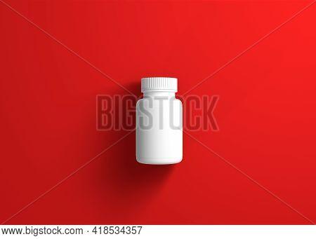 Pills Bottle On Red Background. Minimal Creative Idea. 3d Rendering Illustration