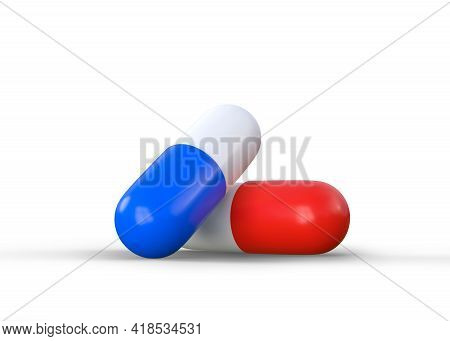 Pharmaceutical Medicine Pills, Tablets And Capsules Isolated On White Background. Medical Concept. 3
