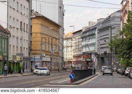 Bratislava. Slovakia. Spring 2019. Tram Tracks And Bus Stop In Bratislava. Public Transport In Slova