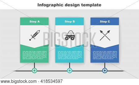 Set Medieval Sword, Wooden Four-wheel Cart And Crossed Medieval Spears. Business Infographic Templat