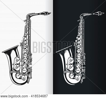 Silhouette Jazz Tenor Saxophone Music Stencil Isolated Vector Drawing