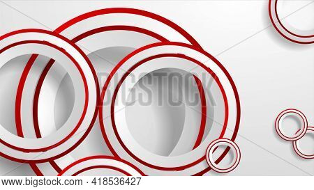 Abstract geometric background with grey and red paper circles