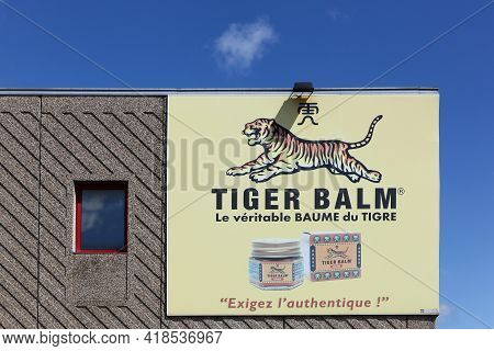 Anse, France - June 14, 2020: Tiger Balm Logo On A Wall. Tiger Balm Is An Ointment From The Chinese