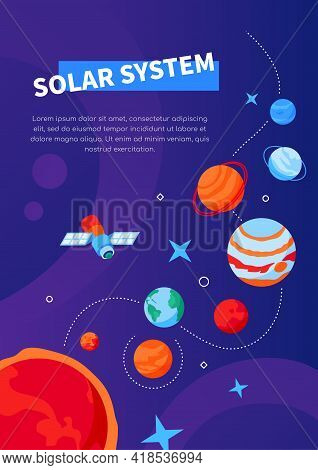 Solar System - Modern Colorful Isometric Web Banner