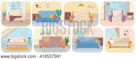 Set Of Illustrations About Living Room Interior Design. Lounge, Sofas For Relaxation. Arrangement Of