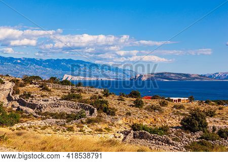 View On Stara Baska Houses At Island Krk In Croatia In The Summer Season