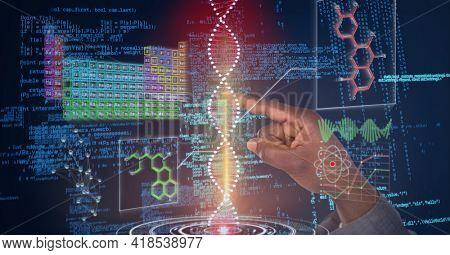 Composition of man touching virtual screen with dna strand and medical data processing. global connections, medicine, science, data processing and technology concept digitally generated image.