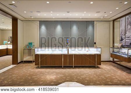 KUALA LUMPUR, MALAYSIA - CIRCA JANUARY, 2020: interior shot of Tiffany and Co store at Suria KLCC shopping mall in Kuala Lumpur.
