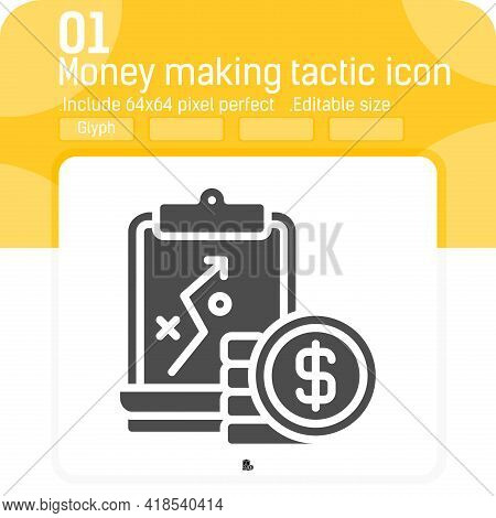 Money Making Tactic Icon With Glyph Style Isolated On White Background. Vector Illustration Business