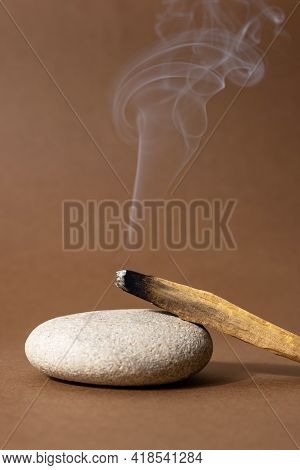 Palo Santo Sticks On A Brown Background.aromatherapy And Religious Rites And Meditations.scattered S