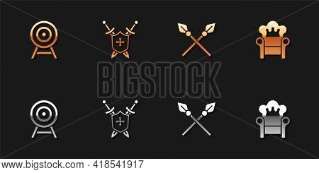 Set Target With Arrow, Medieval Shield Swords, Crossed Medieval Spears And Throne Icon. Vector
