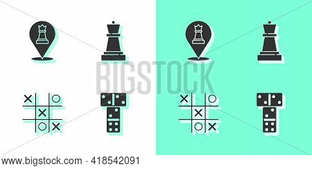 Set Domino, Chess, Tic Tac Toe Game And Icon. Vector