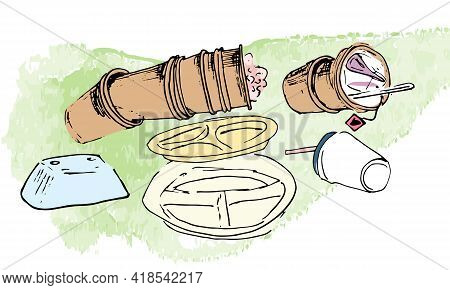 Garbage On The Grass - Plastic Cups, Plastic Plates, Leftovers. Vector Isolated Image Of The Landfil