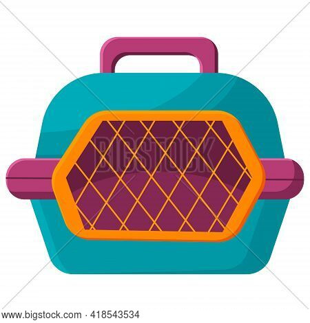Stylish Pet Carrier. Animal Carrier Isolated On White Background. Pet Accessories, Pet Care