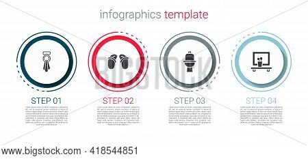 Set Towel On A Hanger, Flip Flops, Toilet Bowl And Washbasin Mirror. Business Infographic Template.