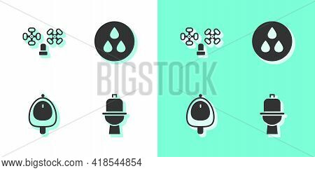 Set Toilet Bowl, Water Tap, Urinal Or Pissoir And Drop Icon. Vector