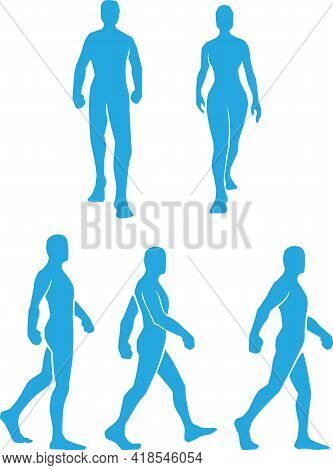 Silhouette Walking Man Stepping Strolling Stencil Vector Drawing