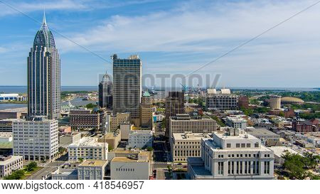 The Downtown Mobile, Alabama Waterfront Skyline In April Of 2021