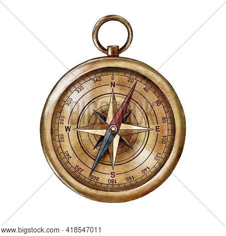 Watercolor Vintage Compass, Orientation, Camping, Cartography. High Quality Photo