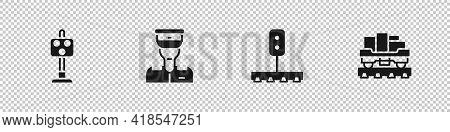 Set Train Traffic Light, Conductor, And Cargo Train Wagon Icon. Vector
