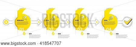 Quotation Bookmarks Timeline With Icons. 4 Steps Journey Concept Of Business Project Process. Infogr