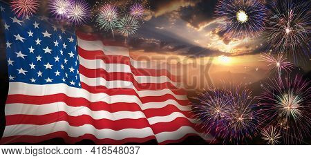 Usa Flag On Fireworks Background. 4th Of July Independence Day, Patriotic Holiday, Celebration Conce