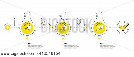 Infographic Timeline With Lamp Light Bulbs And Icons. 3 Steps Idea Journey Path Concept Of Business