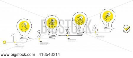 Continuous Line Timeline With Lamp Light Bulbs And Icons. 4 Steps Idea Journey Path Of Business Proj