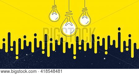Idea Light Bulbs Silhouette. Lamp Icons Yellow Transition Background. Continuous Line Lightbulbs Wit