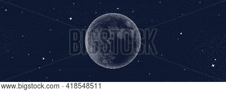 Night Stars Sky With Moon Background. Surreal Universe Pattern. Abstract Cosmos Imagination. Surreal
