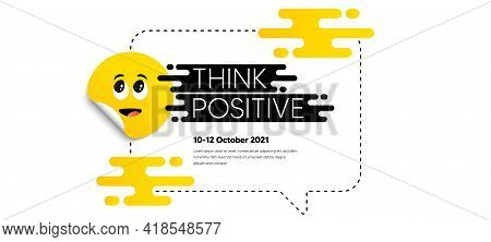 Surprised Face Sticker On Frame Box. Chat Speech Bubble. Think And Speak Cloud. Yellow Cartoon Face