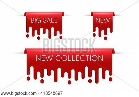 New Ribbon Banners. Big Sale Red Sticker With Transition Pattern. New Collection Ribbon Tags. Isolat
