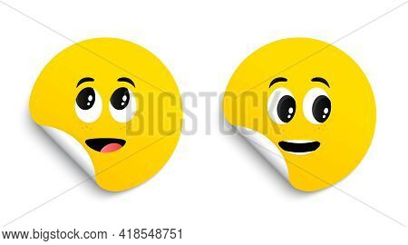 Cartoon Face Expressions On Stickers. Surprised Face And Interested Emotions Tags. Cute Funny Charac
