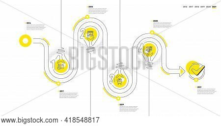 Timeline Path With Icons And 4 Steps. Buying Process With Numbers. Infographics Business Concept. On