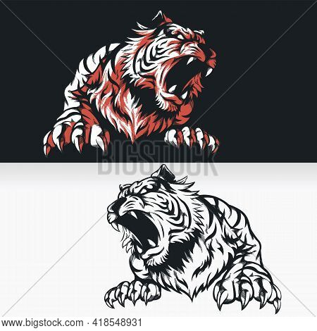 Silhouette Tiger Roaring Front View Stencil Isolated Vector Drawing