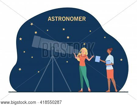 Female Astronomers Watching Stars In Telescope. Sky, Space, Study Flat Vector Illustration. Science