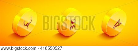 Set Isometric Aircraft Steering Helm, Radar And Passenger Ladder Icon. Vector