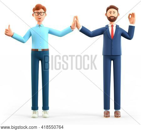 3d Illustration Of Businessmen Informal Greeting. Happy Office People Giving High Five And Gesturing