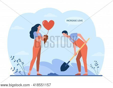 Happy Couple Growing Heart Plant. Shovel, Gardener, Root Flat Illustration. Love And Planting Concep