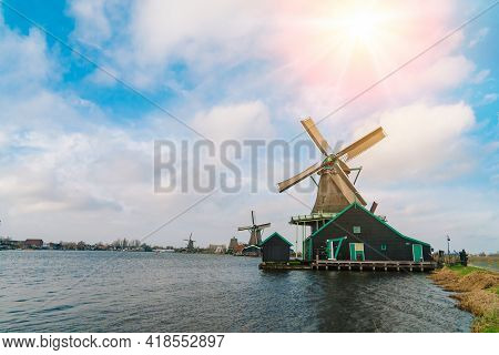 Beautiful Tradition Dutch Scenery Panorama Of Zaanse Schans Windmill Village In Netherlands. Authent