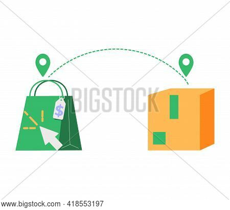 Click And Collect Order, Icon, Receive Order In Pick Up Point, Delivery Services Steps, E-commerce C