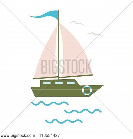 Little Cute Sailing Ship, Boat, Sail Boat. Boat With Sails On A White Isolated Background. Sailboat