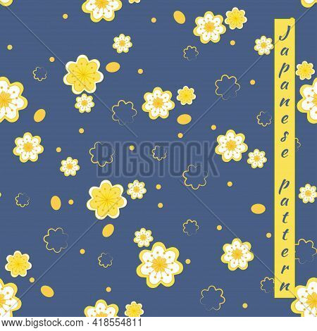 Seamless Floral Pattern Of Sakura Flowers, Apple Trees With Petals And Stamens. Vector Illustration
