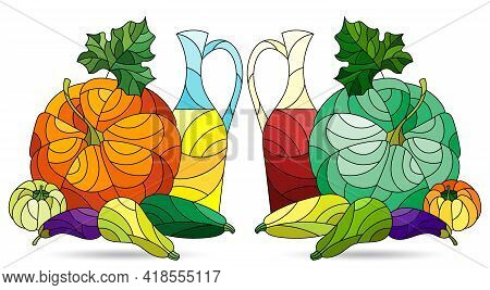 Set Of Illustrations In The Style Of Stained Glass With Vegetable Still Lifes Isolated On A White Ba