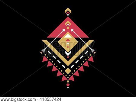 Colorful Mexican Aztec Tribal Sacred Geometry Logo Design Isolated On Black Background. Sacred Alche