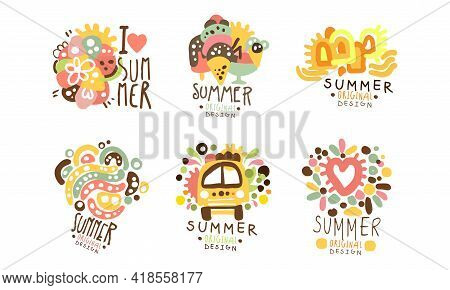 Summer Holiday Original Design With Fancy Shapes Vector Set