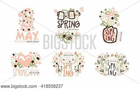 Tender Spring Labels And Logos With Original Design Vector Set