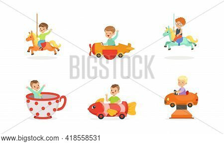 Cheerful Boy And Girl Having Fairground Or Carousel Ride And Laughing Vector Set