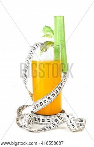 Orange Juice Celery And Measuring Tape Isolated On White Background Weight Loss Dieting Concept